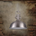 15'' Wide 1 Lt Industrial Nickel Finished Metal Pendant with Bowl Shade