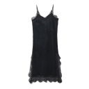 Sexy Lace Patchwork Spaghetti Straps Sleeveless Plain Mini Cami Dress