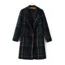 Winter Stylish Plaid Notched Lapel Long Sleeve Snap Button Wool Coat