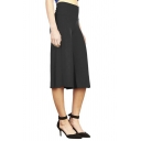 Casual High Waist Plain Wide Leg Capris Pants