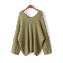 Casual Loose V-Neck Batwing Long Sleeve Plain Sweater