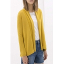 Women's Solid Long Sleeve Draped Neck Open Front Cardigan