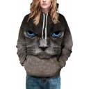 Unisex Hooded Black Cat 3D Print Long SLeeve Hoodie