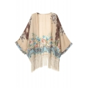 Vintage Women Girls Floral Print Loose Kimono Jacket Coat Cardigan Blouses