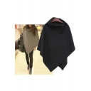 Women Winter Coat Poncho Cloak Irregular Open Collar Cape Tops