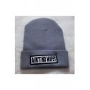 Fashion Unisex Letter Print Knit Hat Winter Outdoor Hat
