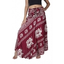 Bow Detail Elasticated Waist Elephant Print Yoga Maxi Skirt