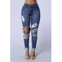 Fashion Distressed Knee Folded Cuff Bodycon Jeans