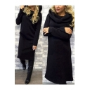 Fashion Hooded Plain Long Sleeve Sheath Midi Dress
