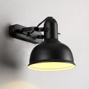 1 Light Industrial Style Wall Sconce in Black Finish with Bowl Shade