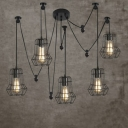 Industrial LOFT Style 5 Light Hanging Pendant with Cage Guard