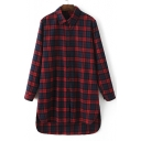 Women's Fashion Plaid Print Dip Hem Lapel Shirt