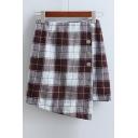 Plaid High Waist Zip Side Buttons Embellished Asymmetric Mini Skirt