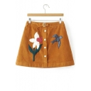 Fashion Floral Bird Embroidered A-line Corduroy Skirt