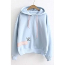 Preppy Style Hooded Plain Letter Print Dropped Long Sleeve Hoodie