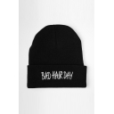 Unisex BAD HAIR DAY Letter Pattern Hiphop Knitted Hat