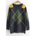 Stylish Diamond Color Block Round Neck Sweater with Hollow