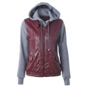 Womens Faux Leather Motorcycle Jacket with Hoodie