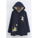 Hooded Single Breasted Embroidery Snowmen Pattern Tunic Coat with One Pocket