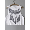 Sexy Feather Print Sleeveless Round Neck Cropped Tee