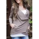 Women's Fashion Oblique Zipper Lapel Long Sleeve Coat with Pocket