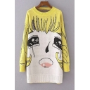 Cute Cartoon Character Round Neck Long Sleeve Sweater