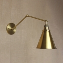 Brass 1 Lt Cone Shade Industrial Wall Light With Adjustable Arm
