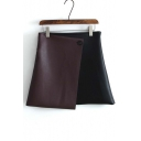 New Arrival Chic Color Block Asymmetrical Hem A-line Skirt with Single Button