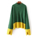 Stylish Color Block Mock Neck Dropped Split Sleeve Sweater