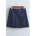 Vertical Striped High Waist Asymmetric Panel Mini A-Line Skirt