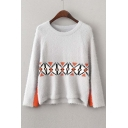 Geometric Print Colorblock Dipped Hem Sweater