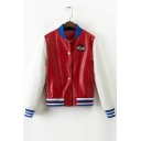 Color Block Bee Embroidered Single-Breasted PU Jacket