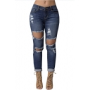 Women's Destroyed Hole Denim Pencil Pants