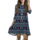 Christmas Party Dress Printed 3/4 Sleeve Round Neck Dress