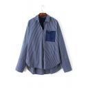 Single Pocket Patchwork High Low Hem Stripe Print Shirt