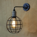 1-light Indoor Hallway LOFT Sconce with Globe Cage Shade