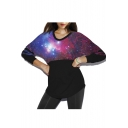 Blue Galaxy Print Fashion Round Neck Pullover Batwing Sleeve Women's Sweatshirt