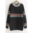 Color Block Stripe Print Mock Neck Loose Pullover Long Sleeve Sweater