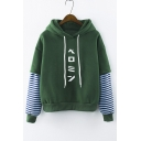 New Stylish Hooded Striped Long Sleeve Japanese Letter Print Hoodie