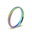 Fashion Titanium Steel Pearl Sand Colorful Rainbow Ring