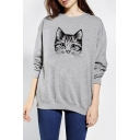 Cute Cat Print Long Sleeve Loose Pullover Casual Women's Sweatshirt