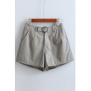 Fashion Casual Concealed Button Zip Front Wide Leg PU Shorts