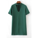 New Cut Out V-Neck Plain Short Sleeve T-Shirt Dress