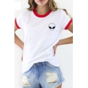 Trendy Contrast Trim Alien Print Short Sleeve Tee with Round Neck