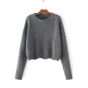 Fashion Wave Trim Dropped Long Sleeve  Round Neck Sweater