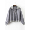 New Stylish Zip High Neck Long Sleeve Pullover Sweatshirt Covered Faux Fur