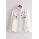 Cute Embroidery Animal Pattern Lapel Single Breasted Button Down Shirt