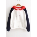 Chic Color Block Drawstring Hooded Sweatshirt with Front Pocket