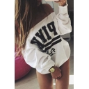 Sexy Loose Off the Shoulder Letter Print Sweatshirt