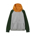 Contrast Hooded Raglan Long Sleeve Hoodie with One Kangaroo Pocket